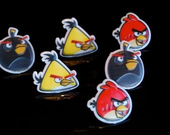 Angry Birds Rings (11)  Cupcake toppers or favors LAST ONE
