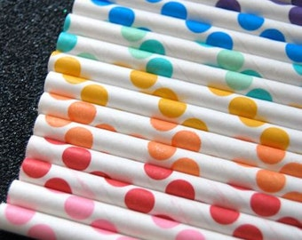 Complete Set of Polka Dot Paper Straws and PDF printable flags (50 straws) or pick your own colors