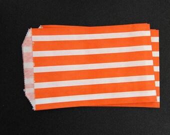 10 Orange Bold Striped Paper Gift Bags (Medium 5 x 7.5)