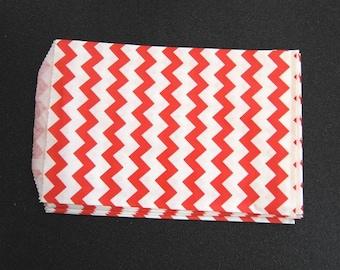 10 Red Chevron Paper Gift Bags (Medium 5 x 7.5)