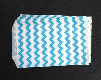 10 Blue Chevron Paper Gift Bags (Medium 5 x 7.5)