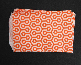 10 Orange Honeycomb Paper Gift Bags (Medium 5 x 7.5)