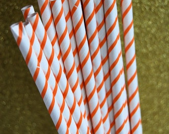 Orange Pin Striped Paper Straws and PDF Printable Party Flags