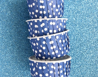 Candy Cups in Dark Lavender/ Blue Polka Dots (25)