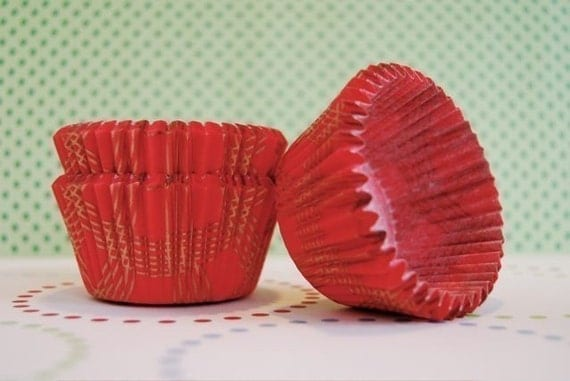 Red and Shiny Gold Plaid Cupcake or Muffin liners (50)