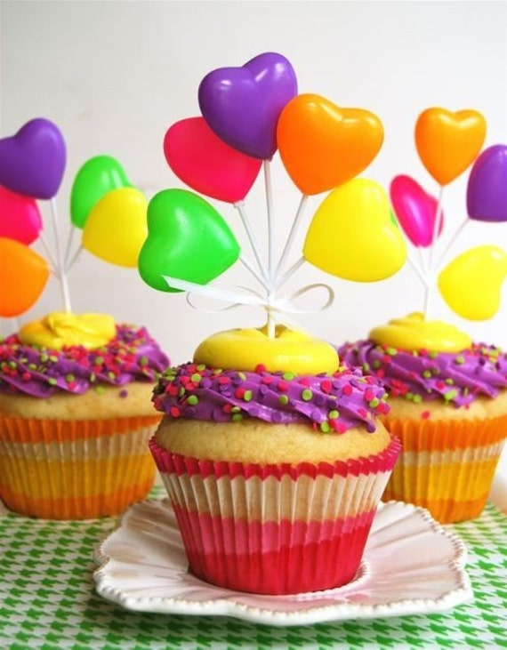 Neon Heart Balloon Cupcake Toppers (6 per pack)