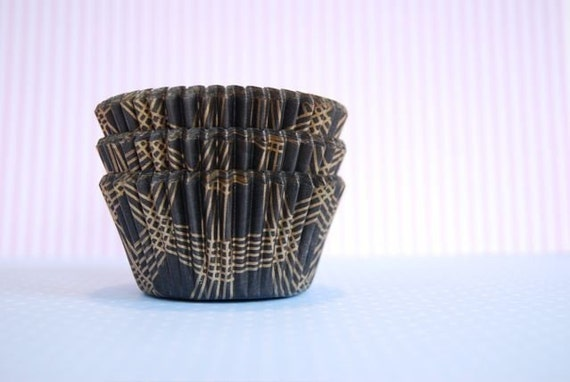 Mini Cupcake Liners Black and Gold Plaid 50