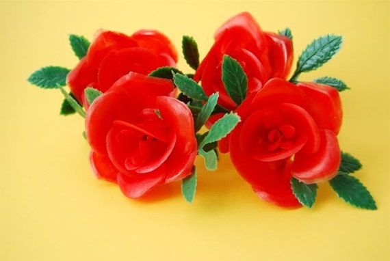 Red Plastic Flower Cupcake toppers (12)