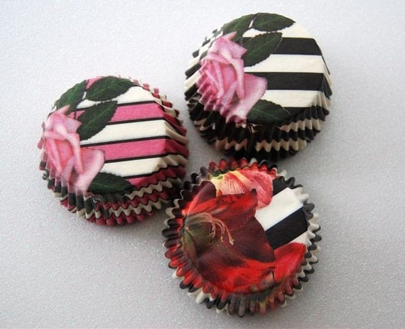Assorted Garden Striped Cupcake Liners (45)