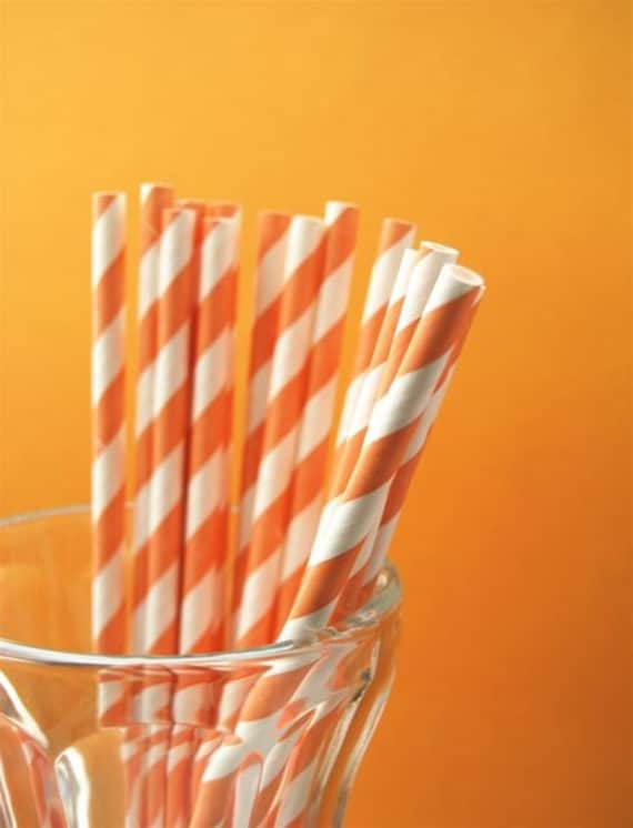 Pale Orange Striped Paper Straws and PDF Printable Party Flags