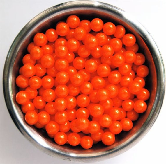 Orange Pearl Candy Bead Edible Cupcake Decorations (2 ounces)