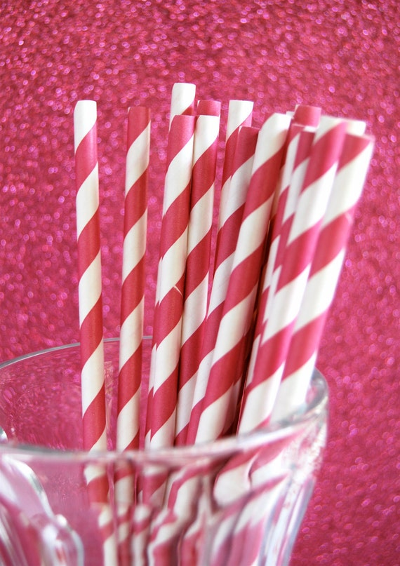 Dark Pink Striped Paper Straws and PDF Printable Party Flags