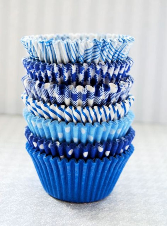 Assorted Blue Cupcake Liner Pack 2