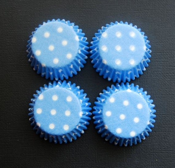 Mini Cupcake Liners 50  Baby Blue and White Polka Dot