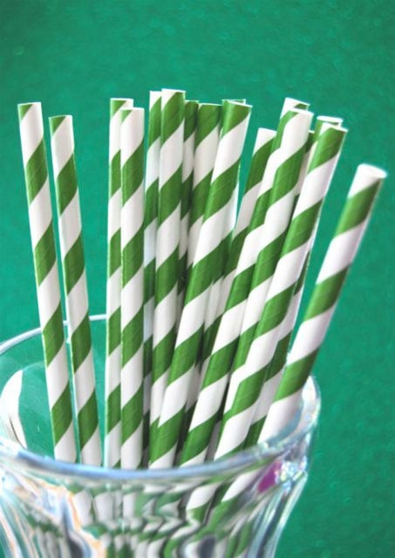 Dark Green Striped Paper Straws and PDF Printable Party Flags