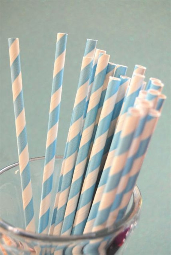 Baby Blue Striped Paper Straws and PDF Printable Party Flags