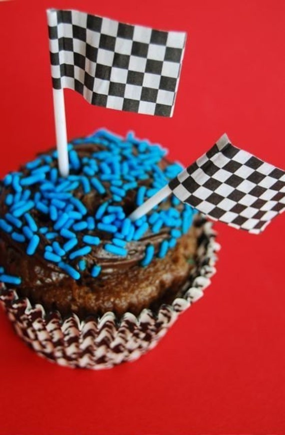 Cake Decorating Checkered Flag : Checkered Flags for cupcake toppers or cake by CupcakeSocial