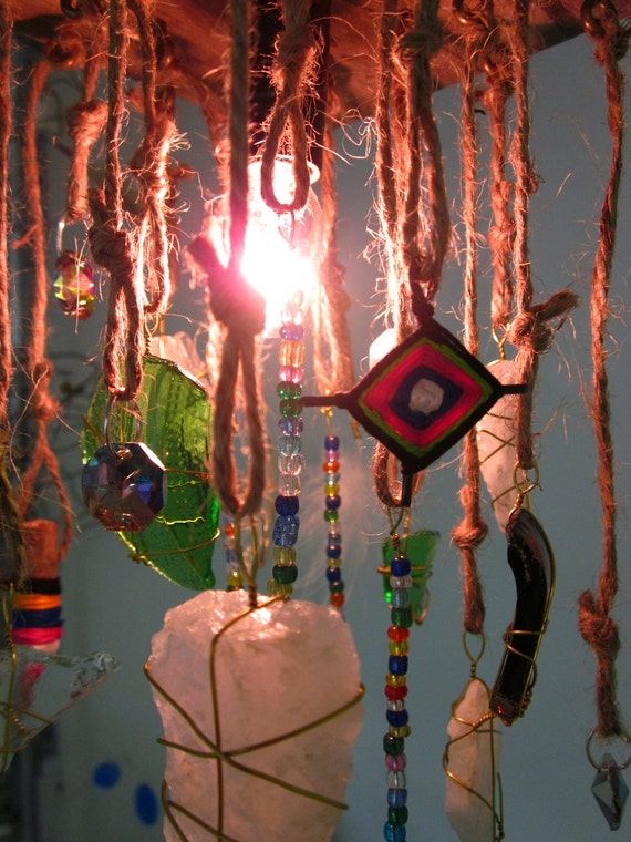 Hanging Found Object Boho Lamp Reserved for Marta