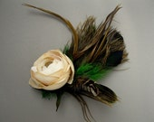 Woodland Bouquet Feathered Flower Hair Clip