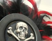 Jolly Roger Pirate Feather Hair Clip