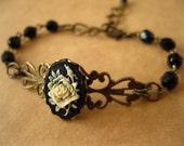 Black And Cream Rose Cameo Bracelet Black Glass Beads Antique Brass