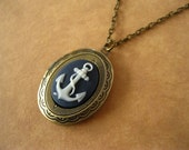 Anchor Locket Necklace Antique Brass Navy Blue And White