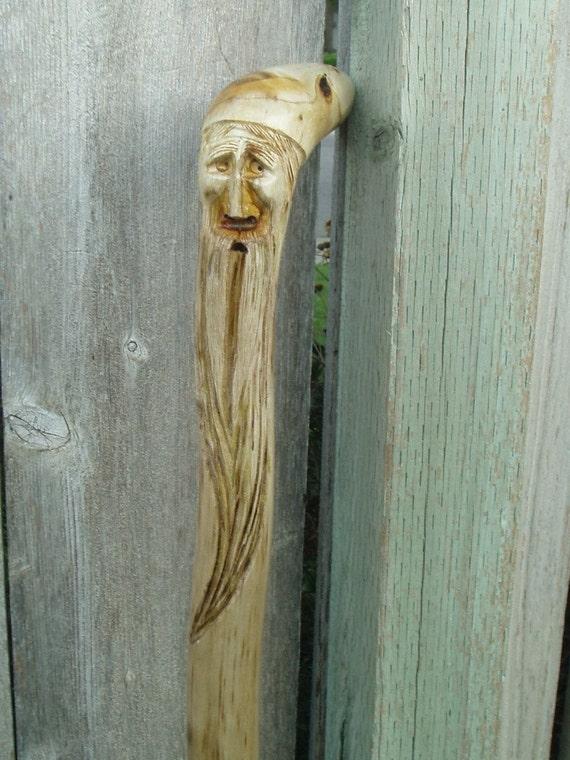Carved Walking Cane Sumac Tree Root
