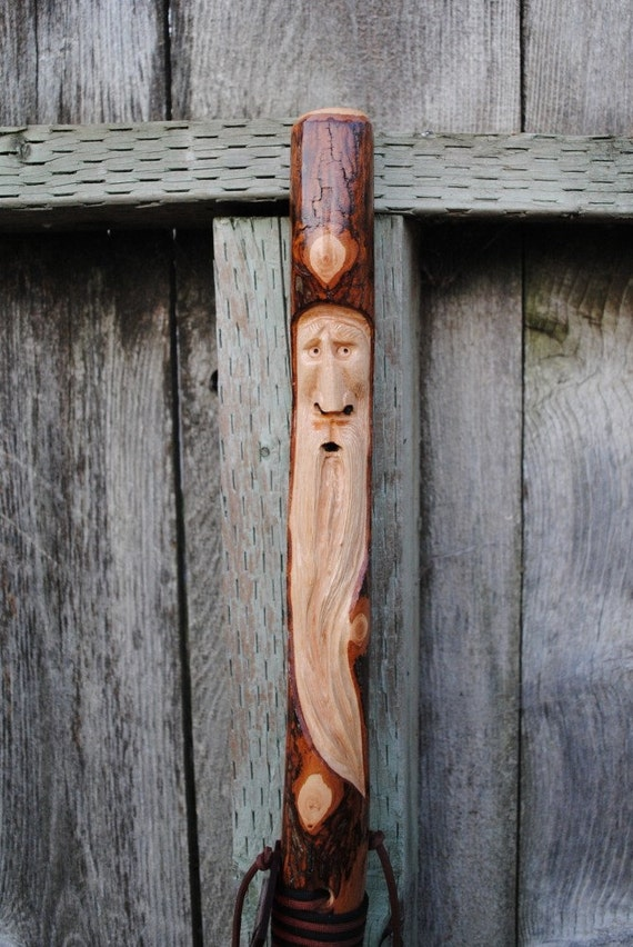 Hiking stick hickory with carved tree by walkersstics on etsy