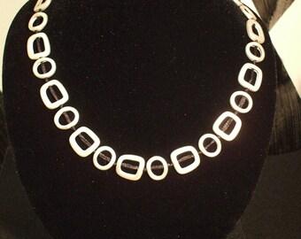 Brushed Metal on Black String Necklace