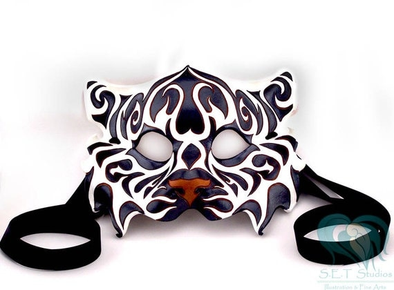 Black and White - Tribal Tiger Leather Mask