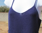 Knit Tank Camisole Purple Cotton Lightweight Large