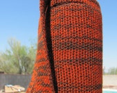 Knit Insulating Water Bottle Holder with Strap Orange and Brown