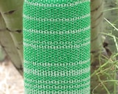 Knit Insulating Water Bottle Holder Cozy with Strap Green and White