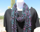 Hand Knit Scarf Purple Red Green Black Fuzzy Nubbie Open Weave with Fringe