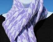 RESERVED FOR KIMBOECU1 -- Scarf-- White with Lavender Houndstooth pattern -- Long