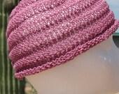 Hand Knit Baby Cap Rolled Brim Hat Beanie Pink Textured 12 to 18 months LightWeight