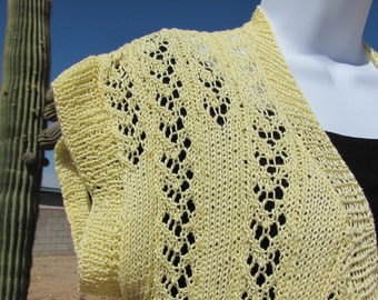Vest Hand knit Yellow Buttercup Delicate Lace Extra Large Plus Size
