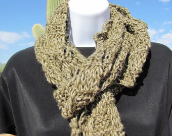 Men's Scarf -- Hand Knit Long Rough Scarf for Him Two Tone Green or Khaki with Fringe For Fall or Autumn