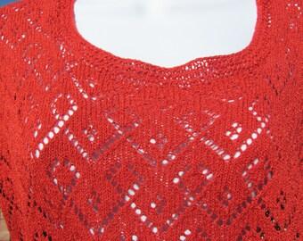 Ribbon Loop Lace Tee - Spring Gardens Line - Watermelon Women's Medium Short Sleeve