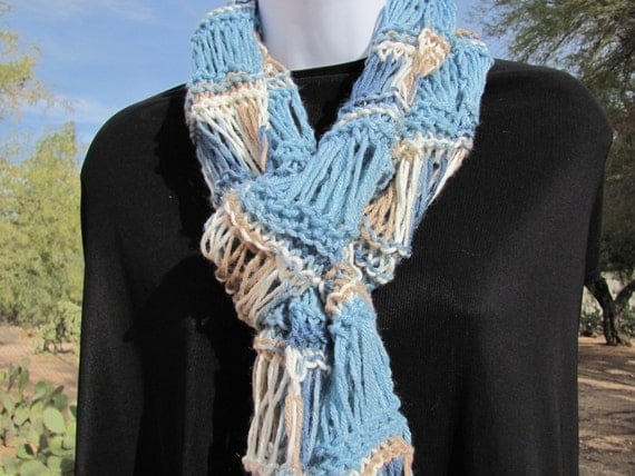 Hand Knit Scarf Blue Brown Multicolor Lacy Long Fashion