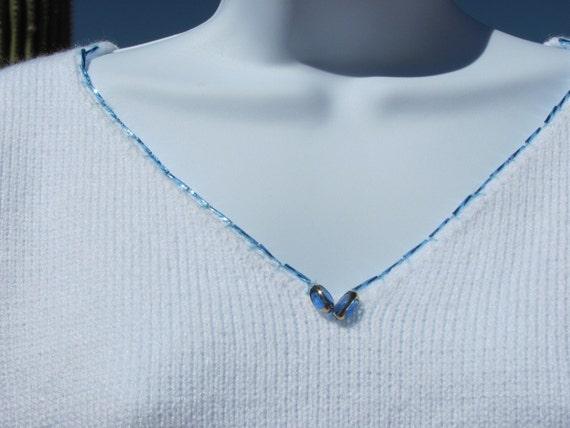 Knit Sweater V-Neck Drop Sleeve White Beads Medium to Large