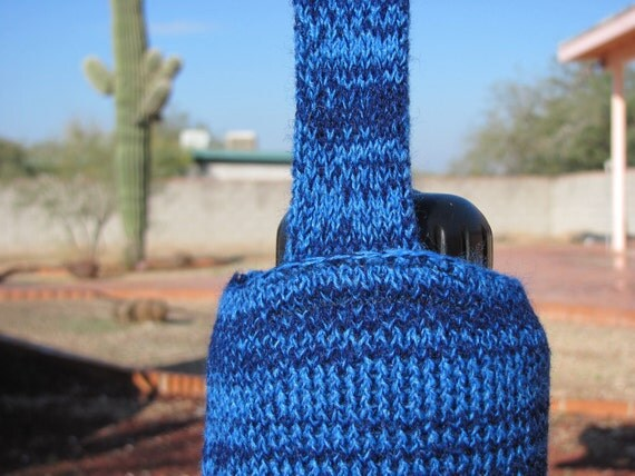 Two Shades of Blue Water Bottle Holder Cozy with Strap