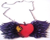 Winged Apple Core Tattoo Necklace