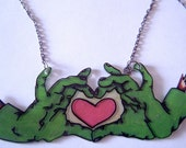 Zombie Hands Over Heart Tattoo Necklace