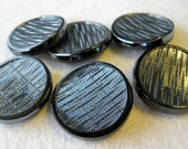 SALE - Gunmetal colored large glass buttons