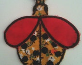 SALE - Novelty vintage deadstock calico ladybug applique or patch