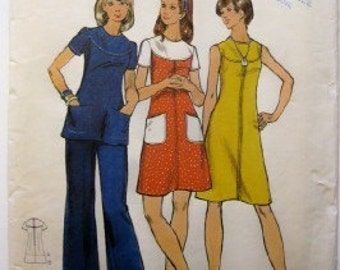 SALE - Butterick 3070 Misses yoked dress or tunic and pants 1970s size 14