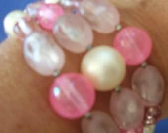 Vintage Pink Cuff Bead Bracelet