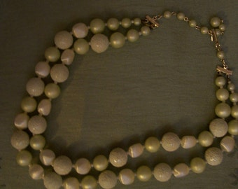 Vintage Pale Yellow Beads - double strand