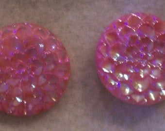 Vintage Irridescent Pink Plastic clip earrings from West Germany